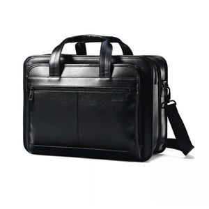 Samsonite Leather Expandable Laptop Briefcase
